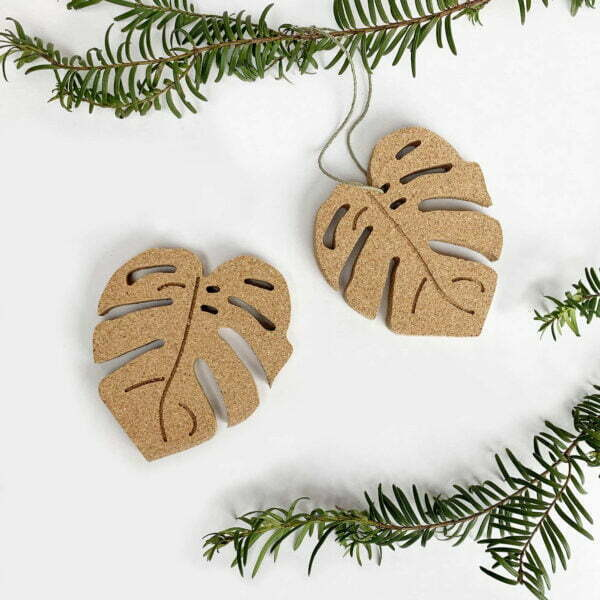 monstera cork botanical ornament