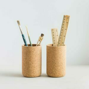 mind the cork abeeku desk tidy styled brushes and rulers